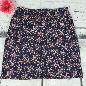 Vintage The Limited Stretch Floral Skirt Navy 8